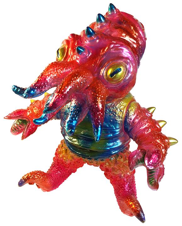 Kaiju TriPus (2.0) Doug Hardy painted Clear Pink sofubi