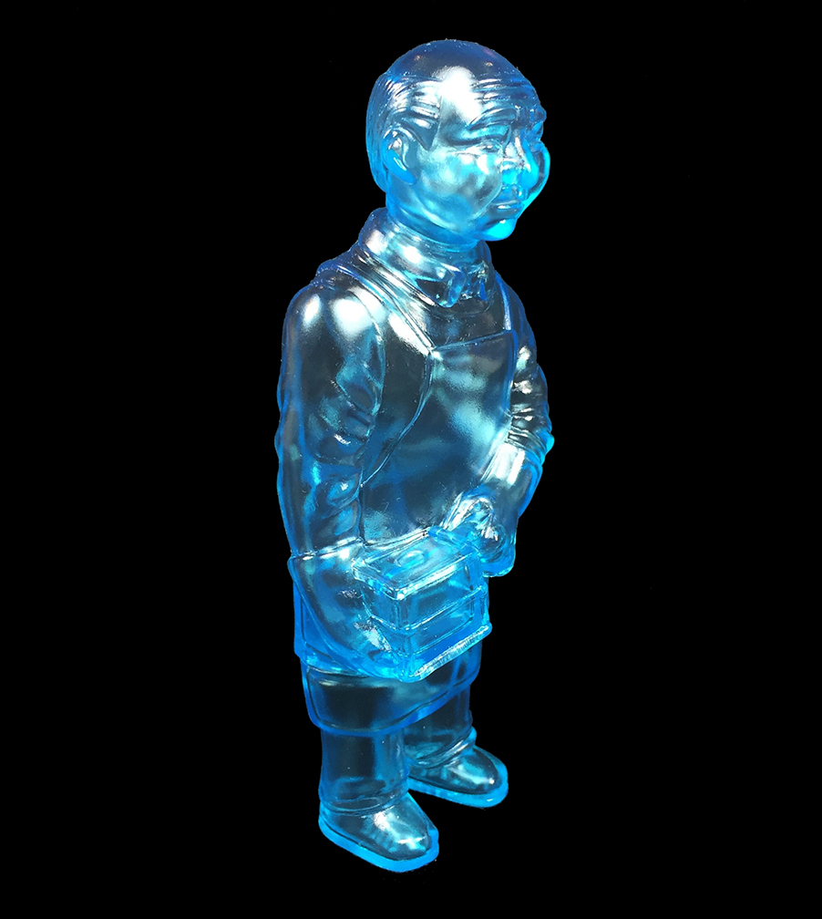 Clear Blue Sofubi-man iron mold casting Kaiju