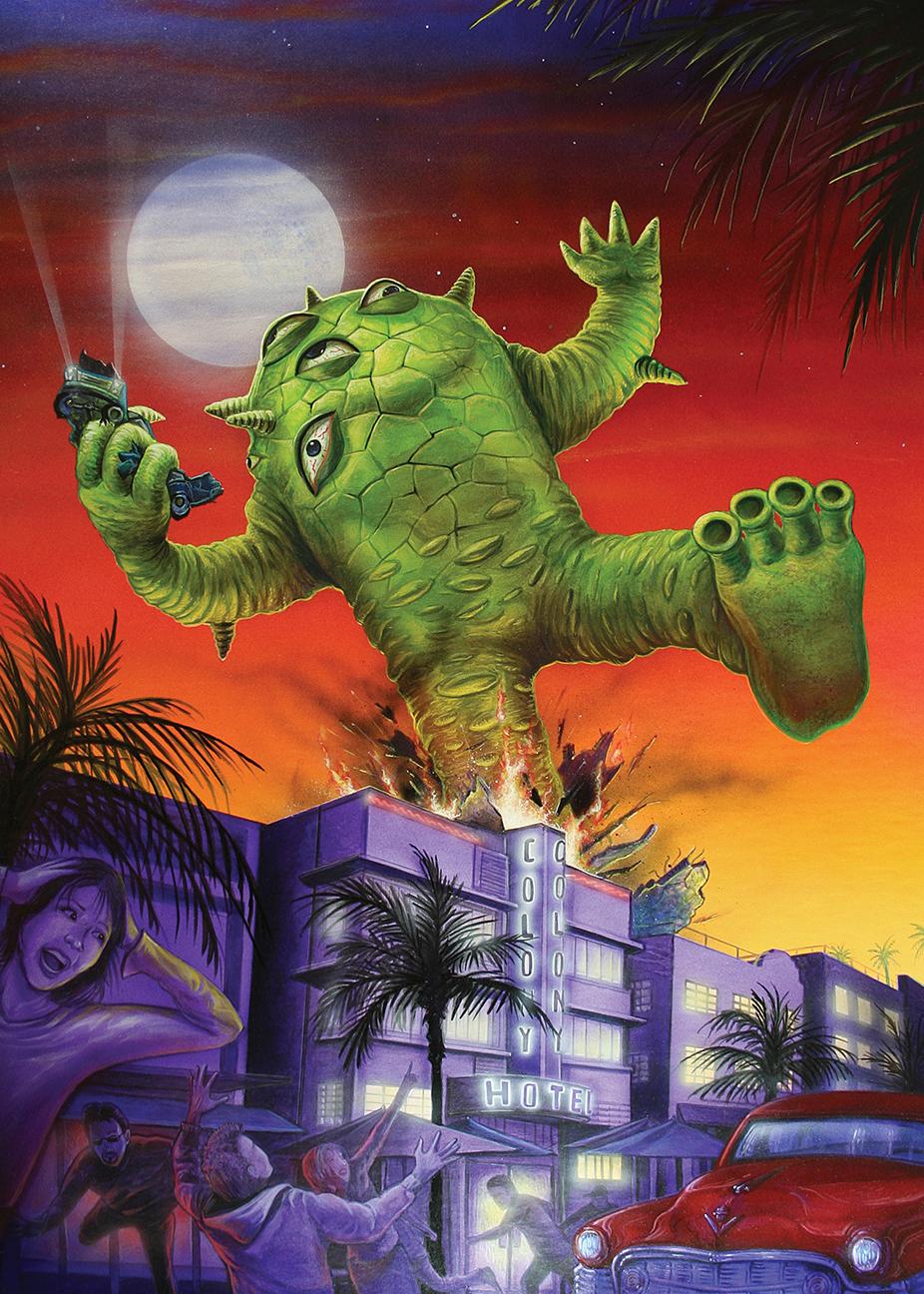 Kaiju Eyezon over Miami giclee print Mark Nagata