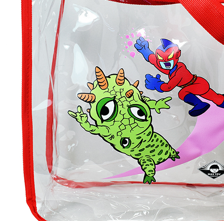 Clear Vinyl Max Toy Company shopping bag with handles...