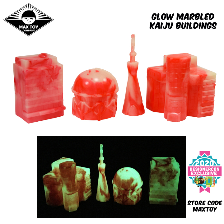 Kaiju Glow in the Dark and RED Marbled Buildings soft vinyl