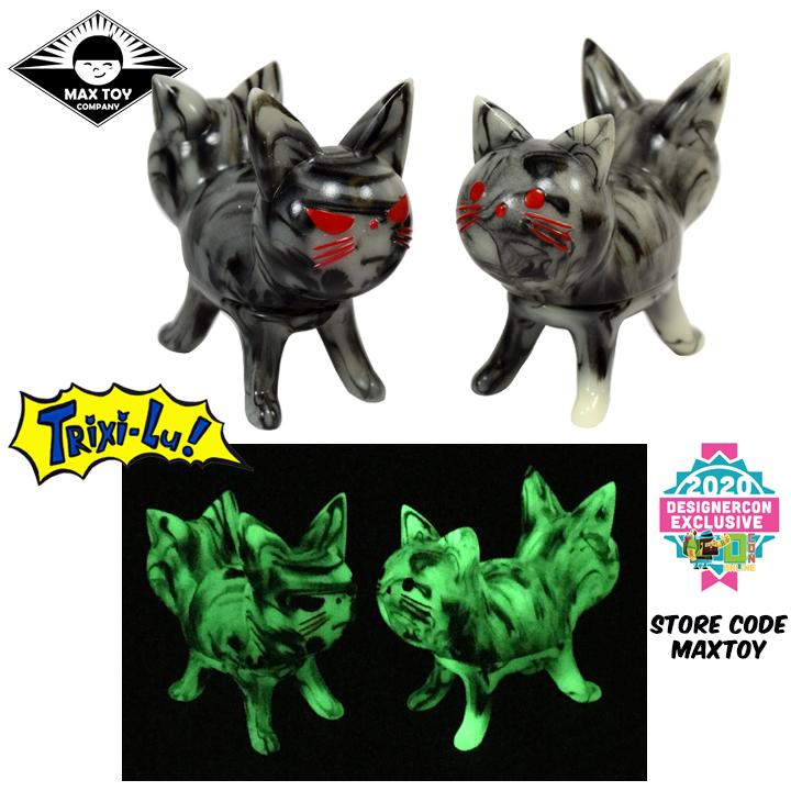 Trixi-Lu Cat soft vinyl figure Black Marbled Glow in Dark colorway