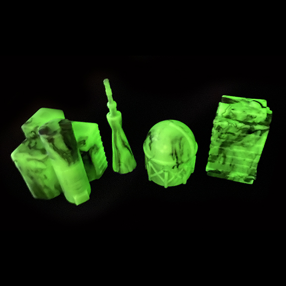 Kaiju Glow in the Dark and Black Marbled Buildings soft vinyl