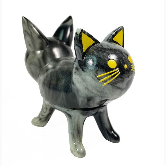 Trixi-Lu Cat soft vinyl figure Black Marbled Glow in Dark Yellow eyes