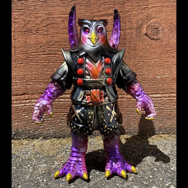Purple Teng Hoot Motley Miscreations x Nagata paints Owl Oni
