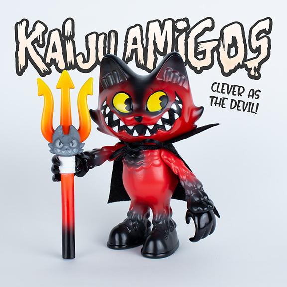 """Kaiju Amigos """"The Devil You Know"""" Wananeko Cat painted by Javier Jimenez custom"""