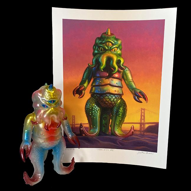 WHITE Kaiju TriPus Figure & Giclee print artist Jonathan Queen Edition of 5